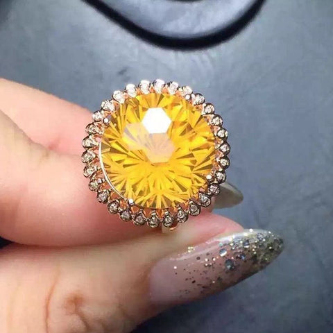 Yellow Citrine Natural Gift Micro Setting 925 Sterling Silver Ring