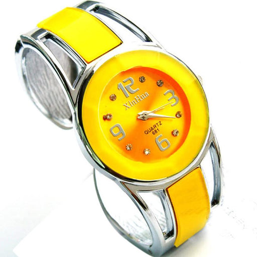 Yellow Fashion Womens Alloy Band Quartz Analog Round Bracelet Watch Gift Female Ladies Wrist Watches Clock Female Dress H042510