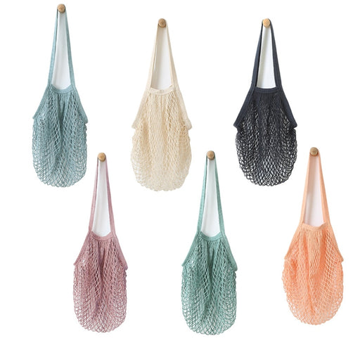 Yesello Pure Cotton Net Bag Supermarket Shopping Bag Travel Beach bags Kitchen Hanging Grocery Storage Tote Bags