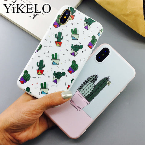 YiKELO Cactus Plants Painting Pattern Case For iPhone X 6 6s 7 Plus Soft TPU Rubber Silicon Cases Back Cover Coque For iphoneX