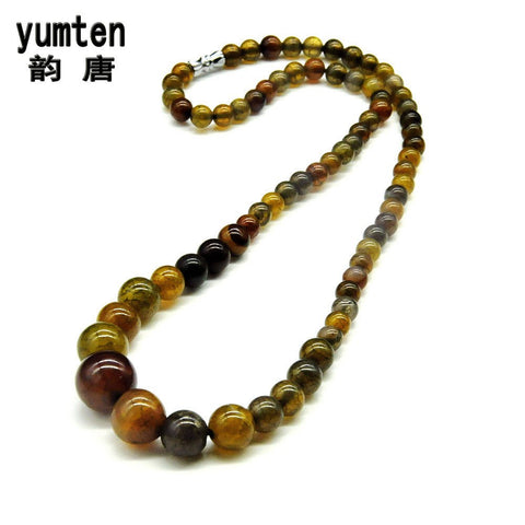 Yumten Hot Sale Women Choker Necklace Natural Agate Beads Stone Body Jewelry Fashion Rhinestone Amber Color Exquisite Crystals