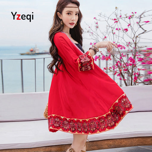 YzeqWomen Tops Women Shirt Kimono Boho Cardigan Vintage Embroidered Red Blouse Loose Shawl Cape Knits Bohemian Coat Jacket