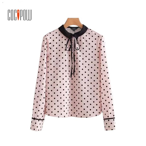 ZA Sweet Girl Print Polka Dot Pleated Shirt Bow Tie Collar Long Sleeve Blouse Ladies Pink Cute Fashion Casual Wear Tops Blusas