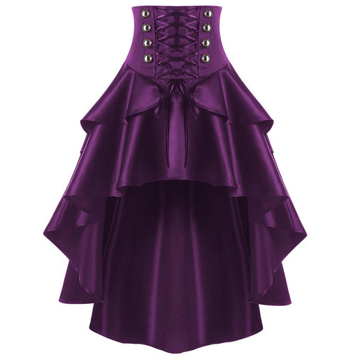 ZAFUL Women Lace Up Waist Ruffles Skirts Gothic Style Button Punk Corset Party Skirts Swing Irregular High Low Feminino Skirts