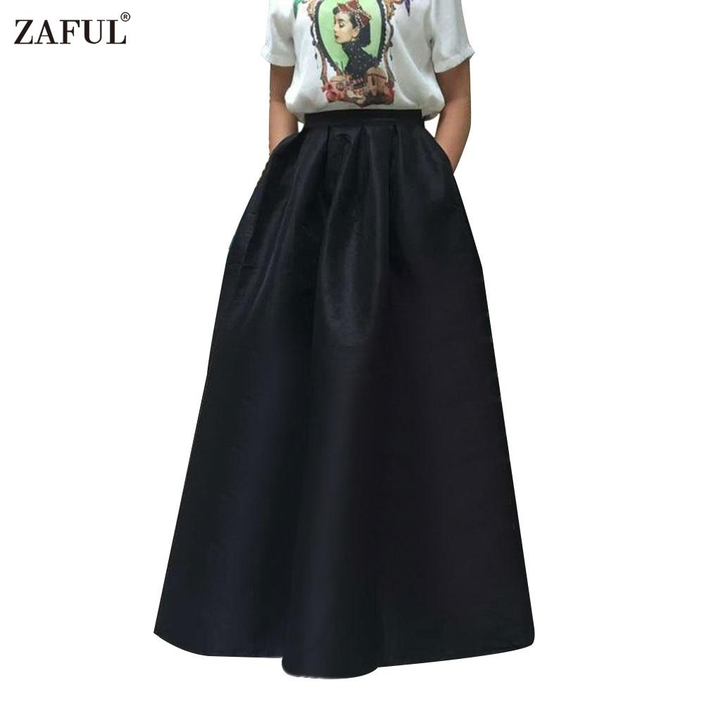 ZAFUL Women Vintage Ball Gown Maxi Skirts 4 Solid Colors Elegant ...