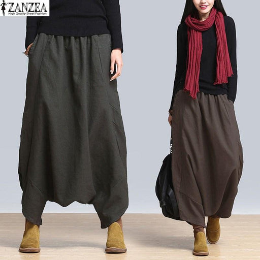 ZANZEA 2018 Summer Autumn Womens Linen Elastic High Waist Solid Harem Cross-pants Bloomers Pant Loose Baggy Long Trousers