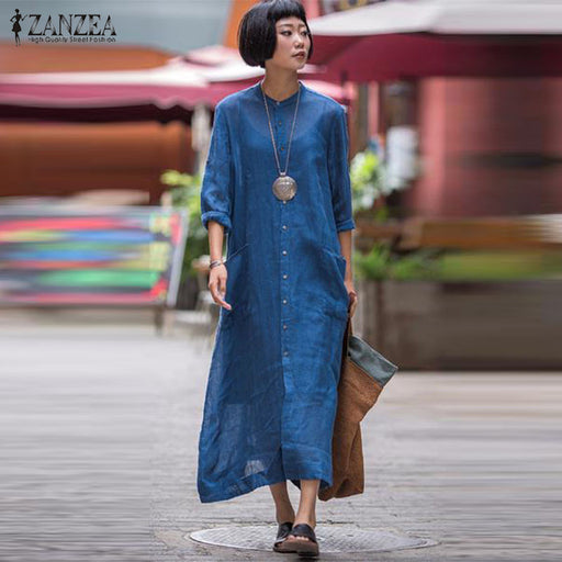 ZANZEA 2018 Vintage Women Shirt Dress Autumn Long Sleeve Casual Maxi Dress  Button Long Tops Female 8f3e819658ad