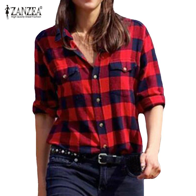 3d1f4e6917c64 ZANZEA Casual Blouses 2018 Spring Women Plaid shirt Checks Flannel Lapel  Long Sleeve Shirts Female Tops