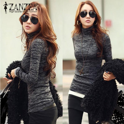 ZANZEA Plus Size Blusas 2018 Fashion Women Turtleneck Long Sleeve Casual Blouse Pullover Autumn Winter Knitted Slim Tops Shirt