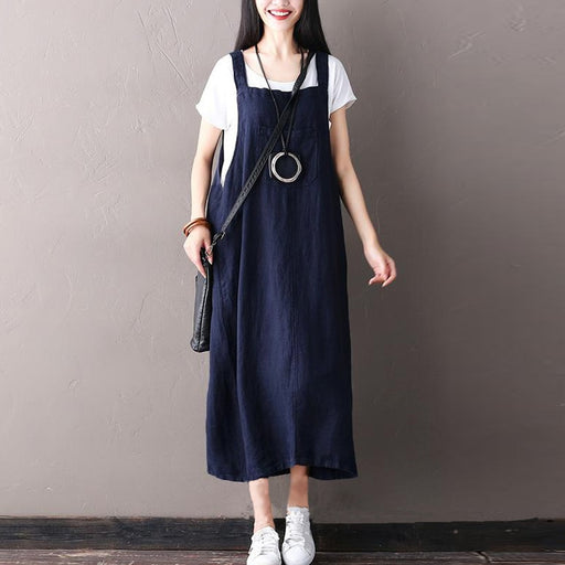 d75fc74d0ff3 ZANZEA Women Retro Sleeveless Spaghetti Straps Casual Long Suspender Dress  Summer Cotton Linen Loose Rompers Vestido