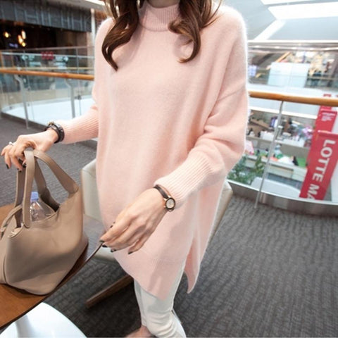 ZAWFL Mink Cashmere Sweater Pullover Jumper For Women New Fashion Loose Oversized Warm Pink Blue Sweater Jumper