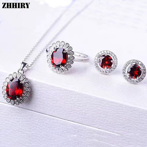 ZHHIRY Women Jewelry Sets Natural Garnet Gem Stone Genuine 925 Sterling Silver Ring Earring Pendant Chain