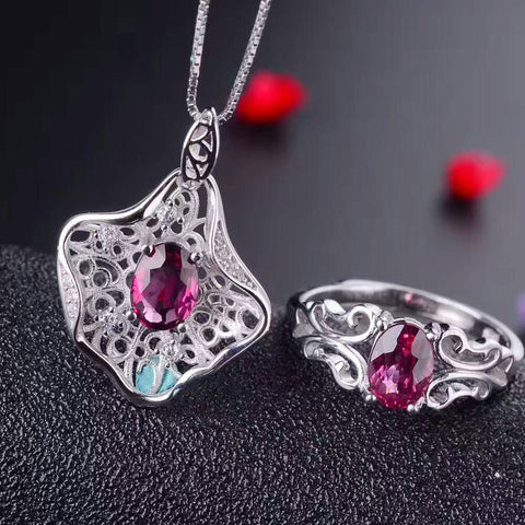 ZHHIRY Women Jewelry Sets Natural Pyrope Garnet Gem Stone Genuine 925 Sterling Silver Ring Earring Pendant Chain Fine Jewelry