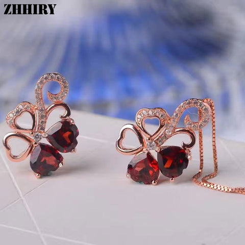 ZHHIRY Women Jewelry Sets Natural Red Garnet Gem Stone Genuine 925 Sterling Silver Ring Pendant Chain