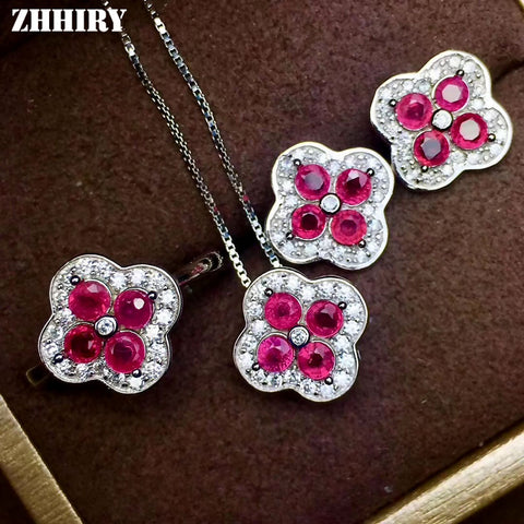 ZHHIRY Women Jewelry Sets Natural Ruby Gem Stone Genuine 925 Sterling Silver Ring Earring Pendant Chain Fine Jewelry