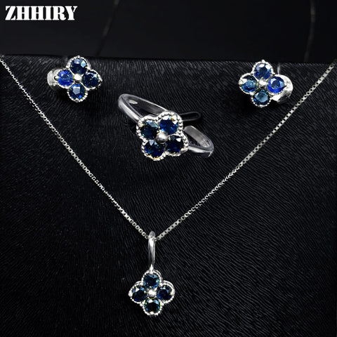 ZHHIRY Women Jewelry Sets Natural Sapphire Gem Stone Genuine 925 Sterling Silver Ring Earring Pendant Chain