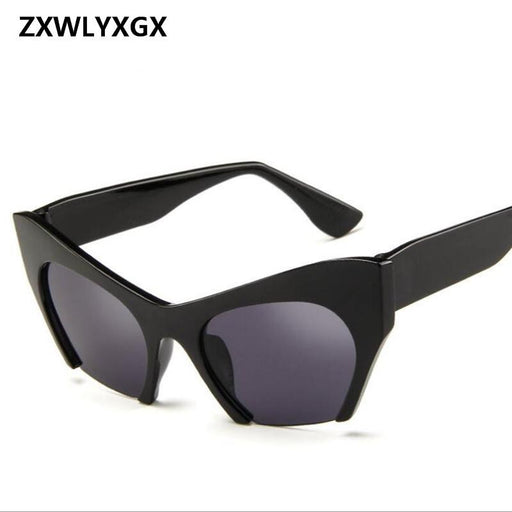 ZXWLYXGX 2018 Fashion half-box Cat Eye Sunglasses Women Brand Designer Vintage Luxury  Snap Sun Glasses Oculos De Sol Gafas
