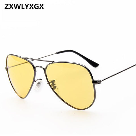 ZXWLYXGX Pilot Aviation Night Vision Sunglasses Men Women Brand Goggles Glasses Sun Glasses Driver Night Driving Eyewear