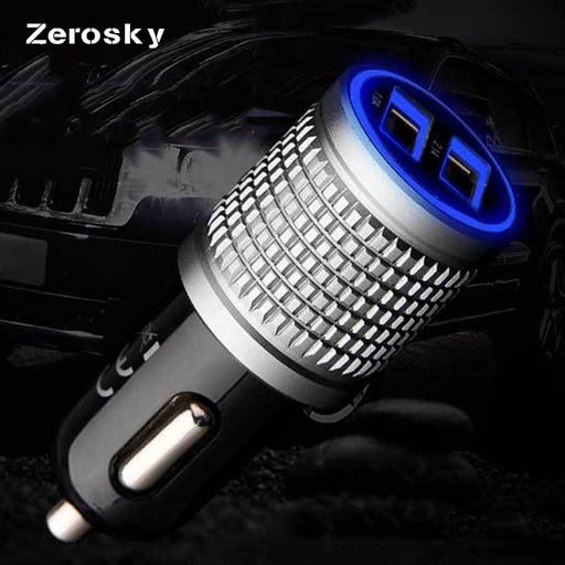 Zerosky 5V 2.1A/1A Dual USB Ports Car Charger LED Light Flash Phone Car Charging Adapter Socket Plug For iPhone Charger Samsung