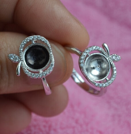 Zircon stone Bead 925 silver ring mounting /fitting, sterling silver apple shape ring findings PR40