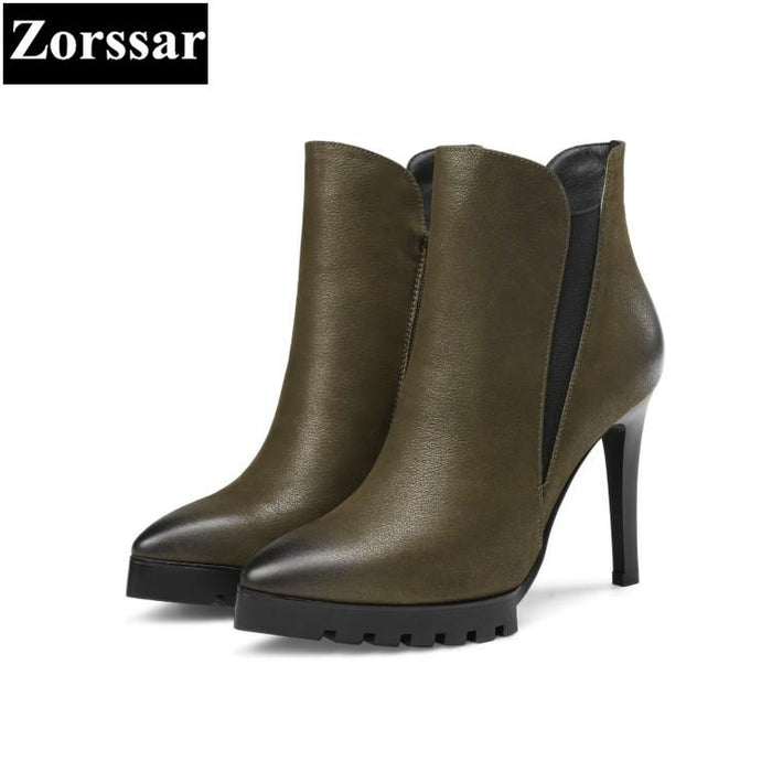ab576d764 {Zorssar} Large size Women shoes pointed Toe Thin heels zipper platform  ankle Equestrian boots