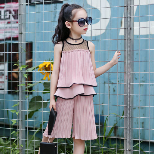 1c65ff423ac2 chiffon 10 12 7 year children clothing set big girls clothes suit summer  outfits vest ruffles
