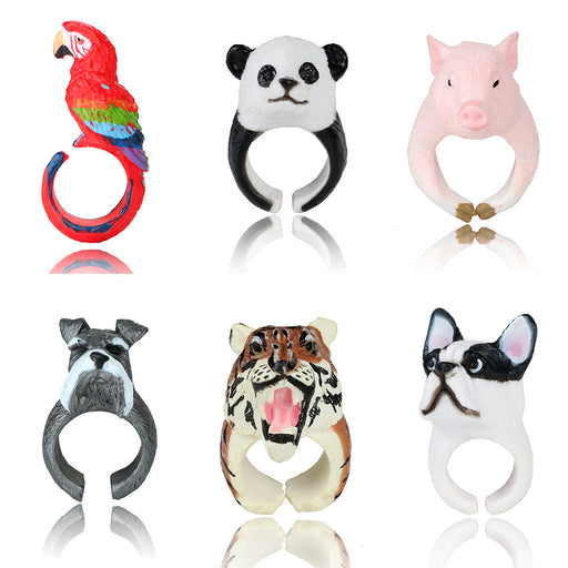 docona Lovely 3D Animal Rings Cute Pig Panda Dog Tiger Parrot Finger Rings for Women Rings Statement Jewelry Anillos