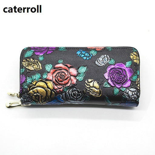 floral wallets for women genuine leather clutch purse large capacity womens wallets and purses luxury brand money bag