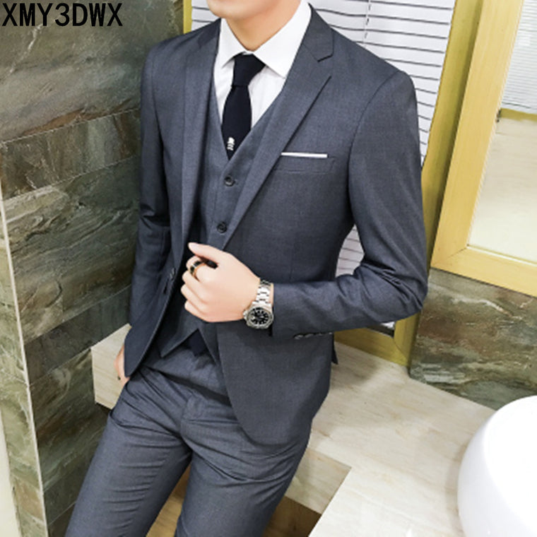 ( jacket + vest + pants )2017 Spring Men's Slim Fit Business Three-piece Suits Male groom Party dress /Man Wedding Blazers Sets 1