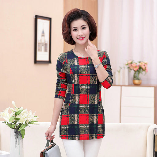 long sleeve t-shirt 2019 spring fall middle old age mother plus size women  printed 4b4f2b639