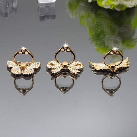 luxury Bling Beauty Peacock Heart Hello Kitty Butterfly Wing Crown Bowknot Diamond Ring Holder for iPhone for Samsung for Meizu