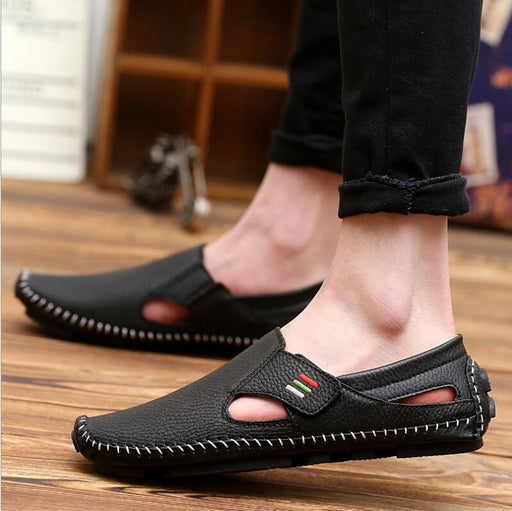 mens sandals Men Leather Driving Shoes Casual Slip-on Summer Shoes Breathable and comfortable soft moccasins driving shoes