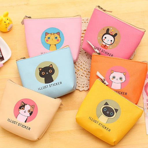 new 2018 hand bag cat waterproof PU wallet bag zipper headset bag zero coin purse bag