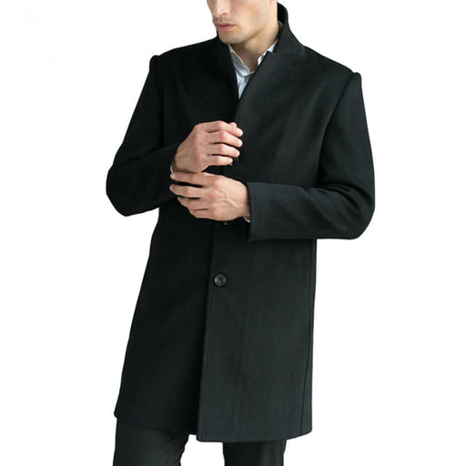 op Quality Mens Overcoat Business Wool Trench Jacket Long Trench Coat Men Windbreaker Plus Size