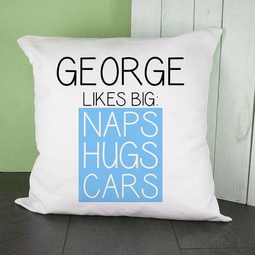 Personalised Blue This Baby Likes Cushion Cover