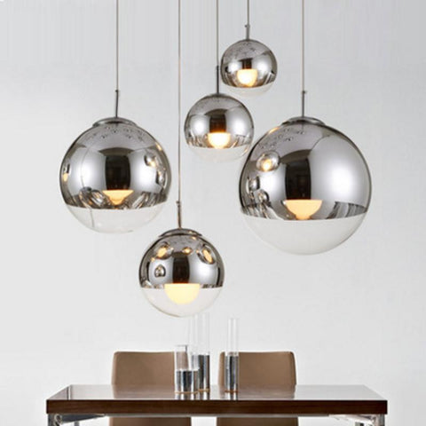 plated glass ball pendant lamp modern single pendant lamps energy saving lamp mirror glass hanging pendant lamp kichen lights