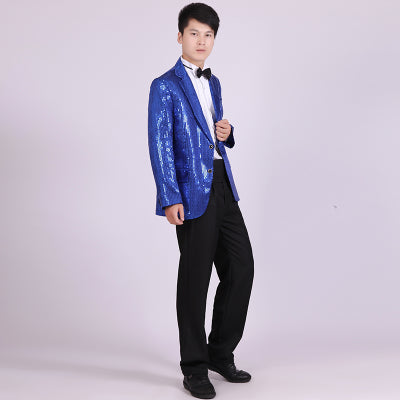 Shiny Men's clothing stage blazers costumes evening tuxedo suit jacket singers dance male master Sequins Dresses Stage Costumes