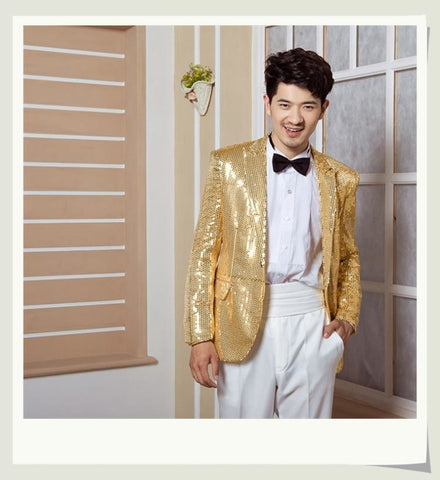 Shiny Men's clothing stage costumes evening tuxedo suit jacket singers dance suit male master Sequins Dresses Stage Costumes