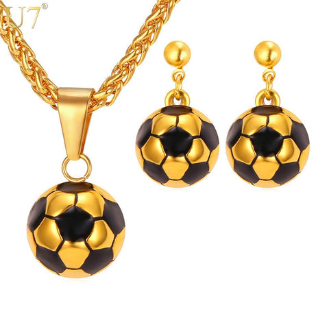 U7 Soccer Football Necklace Set For Women Sport Lover Stainless Steel Pendant Necklace & Earrings Gold Color Jewelry Sets S870