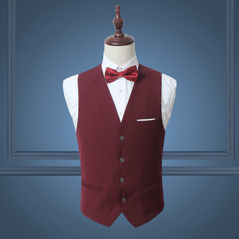 Red Classy Men Suit Vest Solid Black White Single Breasted Slim Dress Business Waistcoat Mens Dance Party Wedding Vests M-3XL