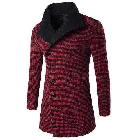 Brand Clothing Men's winter Houndstooth Designed Thick Blazers Long Overcoat Jackets Windbreak Trench Turn down Collar Coat