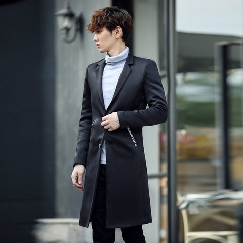 2017 Autumn Winter Men's Fashion Casual Single Breasted Men's Long Blazers Trench Coat Jacket Pea Coat Overcoat British Style
