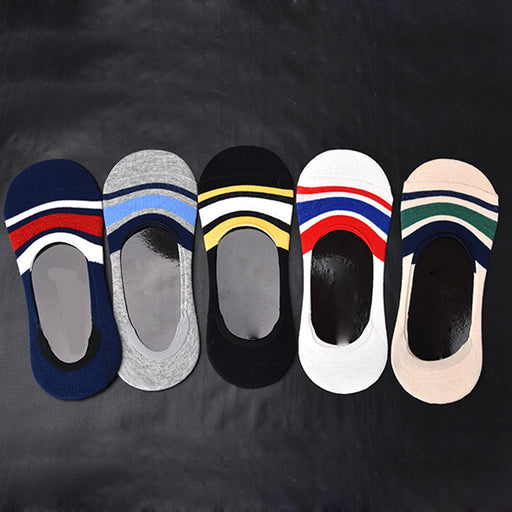 5Pair Mens Socks Invisible Mens Slippers Non-slip Invisible Boat Socks Short Cotton Blends Male Ankle Socks Low Cut Shoe Liner