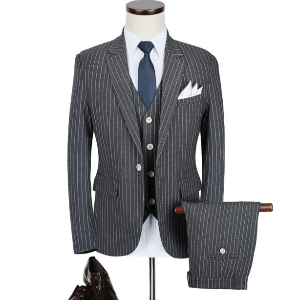 High Quality Men\'s Gray Formal Suits Stripe Blazer Male Business ...