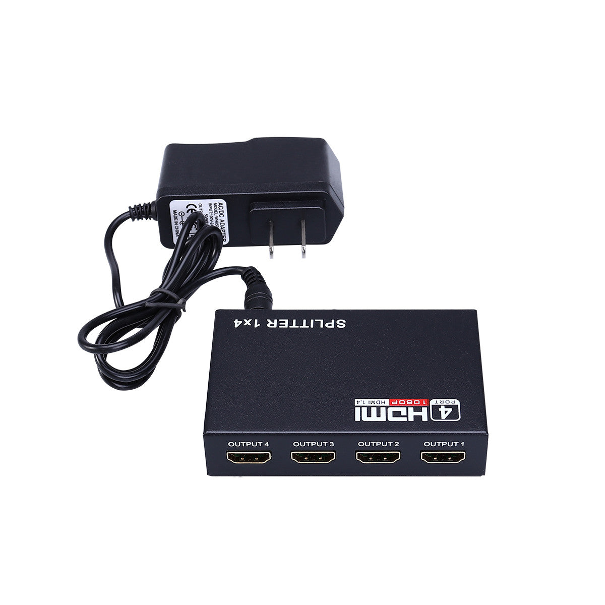 1 in 4 out Full HD 1080P 3D HDMI Splitter 4 Port Hub Repeater Amplifier with US-plug Power Adapter (Black)