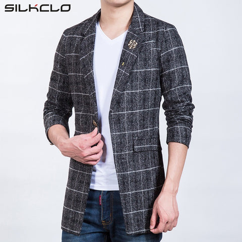 2016 Autumn Brand Clothing Plaid Men's Long Blazers Trench Coat Business European Slim High Quality Wind Popular Men's Jackets