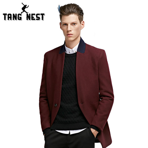 TANGNEST New Arrival Fashion Long Trench Coat 2018 Business Slim Blazer Masculino High Quality Wine Red Color Men Blazer MWX371