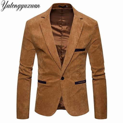 New Men's Corduroy Blazer 2018 Spring British's Style casual Slim Fit suit jacket male Blazers men Terno Masculino Size XXXL