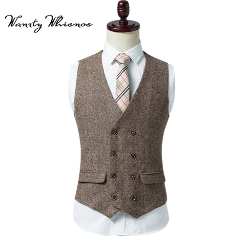 2018 Brand Mens Double Breasted Vest Men Dress Suit Vest Men Formal Grey Vest Suit Gilet Vest Slim Business Jacket Tops homme