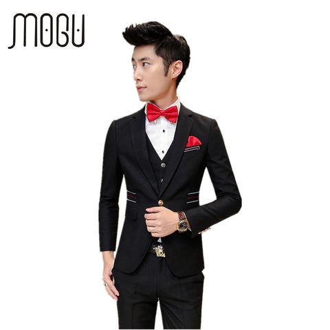 MOGU Three Piece Men Suit New Wedding Suits For Men 2017 Fashion Slim Fit Suit Pure Color Mens Costume Asian Size Men's Clothing